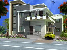 Modern duplex (2 floor) house design.Click on this link (http://www.apnaghar.co.in/pre-design-house-plan-ag-page-63.aspx) to view free floor plans (naksha) and other specifications for this design. You may be asked to signup and login. Website: www.apnaghar.co.in, Toll-Free No.- 1800-102-9440, Email: support@apnaghar.co.in