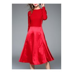 SheIn(sheinside) Red Knit A-Line Combo Dress ($60) ❤ liked on Polyvore featuring dresses, red, red a line dress, knit dress, red knit dress, red long sleeve dress and sleeved dresses
