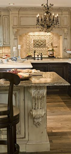Although this would be way too expensive to do I would take some of the ideas and find a cheaper way to incorporate it into my existing kitchen. Example: backsplash design and the chandelier