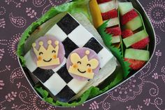Chess bento with fruit kabobs in the LunchBots Uno