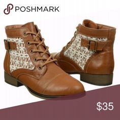 Cognac & Lace Booties Cognac booties with lace paneled siding. Lace up style. In great condition! Fading in the leather is intentional for a more vintage look. Slight wear on the bottom of the heels, pictured. Madden Girl Shoes Ankle Boots & Booties