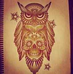 Owl tattoo #skull tattoo