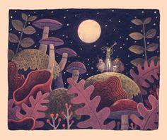 Night Music Art Print by Chuck Groenink Forest Illustration, Children's Book Illustration, Sweet Animal, Mushroom Art, Art Plastique, Art Inspo, Painting & Drawing, Fantasy Art, Concept Art