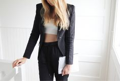 black and white, blazer, clothes, crop top, fashion, outfit, photography, style, tumblr