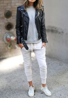 Street Style - black leather jacket, white joggers, and sneakers