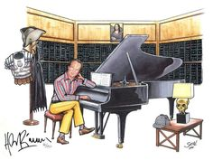 Sergio Sole has created this caricature drawing of Hans Zimmer in his studio. This limited edition artwork will only be sold on Hans' official website. Film Score, Still Picture, Caricature Drawing, Man Of Steel, Music Is Life, Music Videos, Music Instruments, Composers, Cartoon