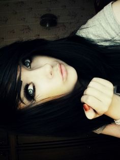 I love her makeup. Her dark hair is so cute