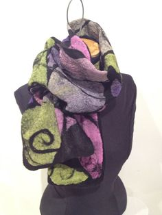 Nuno Felted  Mosaic scarf silk and black merino wool by IonaLoyola, $80.50