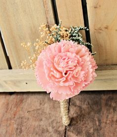 Pink Carnation Sola Flower Boutonniere Pink and Mint by CuriousFloralCrafts, $11.00