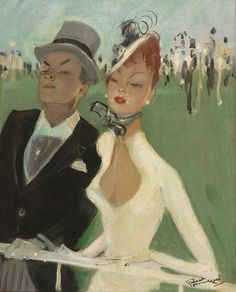 Jean-Gabriel Domergue (1889-1962) Au grand steeple, olieverf op board 40,9 x 32,8 cm., gesigneerd r.o. en verso gedateerd '29 Collection Simonis & Buunk, The Netherlands.