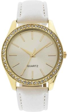 FASHION WATCHES Womens Crystal-Accent Pebble Strap Watch