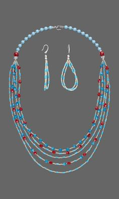 Jewelry Design - Multi-Strand Necklace and Earring Set with Howlite Gemstone Beads, Swarovski Crystal and Seed Beads - Fire Mountain Gems and Beads