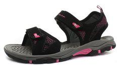 525082f9bac31a Dunlop Black Pink Web Detail Womens Walking   Sport Sandals