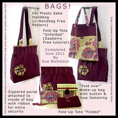 Selection of bags. Largest are from free patterns and tutorials. Here http://zaaberry.blogspot.com/2011/05/tote-tutorial-totorial.html and here http://u-handbag.typepad.com/uhandblog/2010/08/free-bag-purse-pattern-for-pleats-sake-tote.html