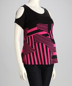 Take a look at this Fuchsia & Black Geometric Maternity Cutout Top by QT Maternity on #zulily today!