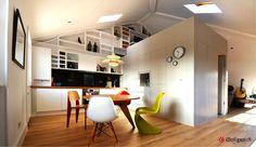 Byg en boks midt i rummet og få køkkenskabe, soverum, badeværelse, masser af opbevaring og en arbejdsplads ud af arbejdet.