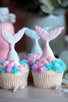 The cupcakes at this Watercolor Mermaid Birthday Party are gorgeous!  See more party ideas and share yours at CatchMyParty.com #catchmyparty #partyideas #mermaidparty #mermaidcupcakes #girlbirthdayparty