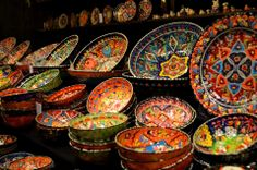 Handmade plates and bowl from Turkey.