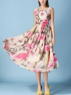 Round Neck  Floral Printed  Chiffon Maxi Dress