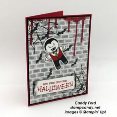 Click through to stampcandy.net for details! Stampin' Up!, Cookie Cutter Halloween, Spooky Fun & Ghoulish Grunge Stamp Sets, Halloween Night Specialty DSP, Bunch of Banners Framelits Dies, Real Red, Basic Black, Whisper White, Vampire