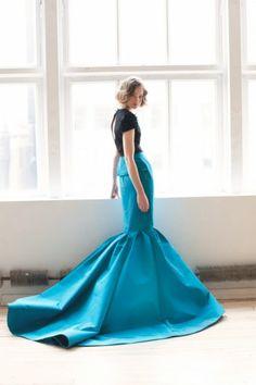 Bright blue peplum + mermaid dress. From Katie Ermilio's Fall 2012 lookbook.
