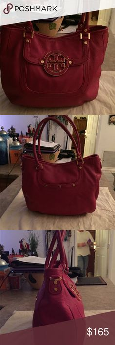 """Tory Burch Pink Leather Amanda Bag Purse Hobo Like New Condition is this 100% Authentic Tory Burch Pink (Magenta) Genuine Leather Amanda Hobo Bag Purse. No signs of wear inside or outside. Missing Crossbody Strap, no dust bag. Price reflects such. Measurements are 15""""W x 10""""H x 5""""D with a 7"""" Double Roll Handle Drop. Retails $450.00 Tory Burch Bags Hobos"""