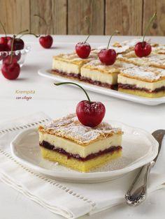 """Ciao a tutti e buon Lunedi! Per Recake questo mese un dolce di origine Croata la """"Krempita alle ciliegie"""". Mi incuriosiscono sempre molto i dolci esteri, devo ammettere che non mi hanno mai deluso. Ed é stato così anche per questo, un dolce delicato, fresco e leggero. Rispetto alla ricettta originale ho riproporzionatogli ingredienti ad…"""