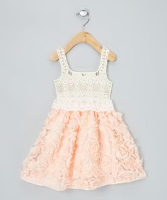 Look what I found on #zulily! Pink & Cream Rosette Dress - Infant, Toddler & Girls by Sweet Cheeks #zulilyfinds