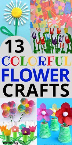 13 Colorful Flower Crafts for Preschoolers Crafts for Preschoolers: 13 bright colorful flower crafts for preschoolers. The post 13 Colorful Flower Crafts for Preschoolers appeared first on Easy flowers. Crafts For 3 Year Olds, Arts And Crafts For Teens, Art And Craft Videos, Arts And Crafts House, Easy Arts And Crafts, Spring Crafts For Kids, Arts And Crafts Projects, Summer Crafts, Garden Crafts For Kids