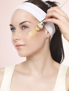 Countouring - Use a brown cream under your cheekbone, under the angle of your jaw, and on your temples. Blend with your fingers, then add regular foundation.