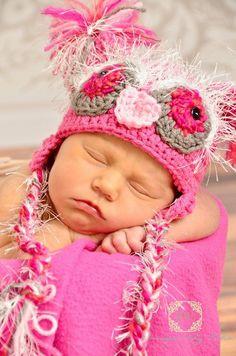 Baby Newborn Owl Crochet Hat Braided Tassels Photo Prop Made to Order Treasury. $20.00, via Etsy.