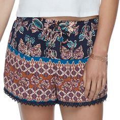 Juniors' About A Girl Printed Crochet Trim Shorts, Size: Medium, Blue (Navy)