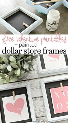 See how to update Cheap Picture Frames using a simple paint technique and make a Dollar Store Valentine& Day craft with a FREE printable. Diy Valentine's Day Decorations, Valentines Day Decorations, Valentine Day Crafts, My Funny Valentine, Valentine List, Valentine Tree, Saint Valentine, Valentine's Day Quotes, Cadeau St Valentin