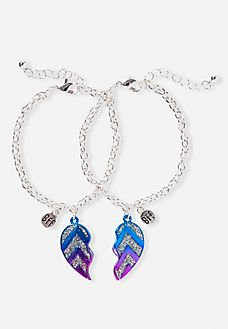 Glitter Chevron BFF Heart Bracelets