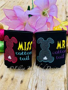 ITH Mr and Miss Cottontail Can Insulator Embroidery Design SET OF 2 Embroidery Files, Machine Embroidery, Embroidery Designs, Mister And Misses, Design Set, Beer Lovers, Design Files, Insulation, Cute Couples