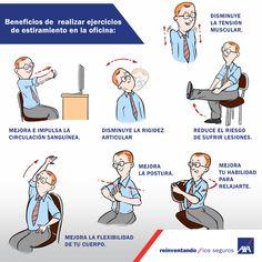 ejercicios de estiramiento en la  oficina