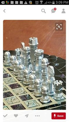 projects ideas metal chess pieces. Very cool chess set made from polished hardware parts  How to Make a Chess Set with Nuts Bolts sets and