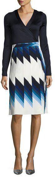 Diane von Furstenberg Pleated Silk Wrap Dress, Blue