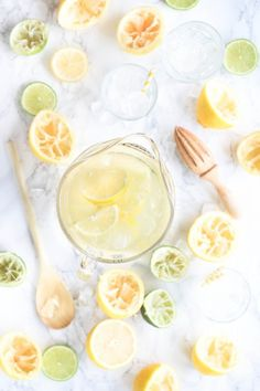 Easy homemade lemonade with lemon and lime. Homemade lemonade is so refreshing on a hot summer day and only takes 5 minutes to make. Click here and grab the recipe for homemade lemonade