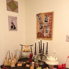 Harry Potter Party.  I painted the Honeydukes and Leaky Cauldron signs.  The bulletin board is pinned with Undesirable wanted posters made with the birthday girl's photos.  The light switch is labeled with Lumos and Nox.
