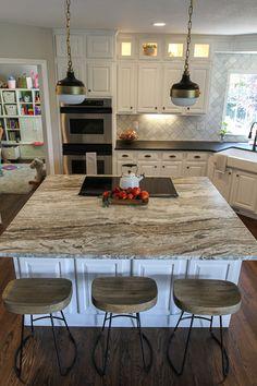 white modern farmhouse kitchen with fantasy brown granite | suburban bitches