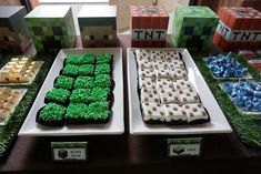 Minecraft Birthday Party Ideas | Food table set up