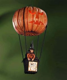 Halloween Hot Air Balloon with Pumpkin with Witch & Cat - Bethany Lowe