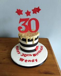 Another of last weekends cakes. This one looked tiny in comparison to the tall drip cake. Another drip cake here with a black and white detailed stripe. White chocolate drip which was painted gold. Layers of vanilla sponge jam and buttercream. #vanillasponge #birthdaycake #30thbirthday #dripcake #goldpainted #southwalescakemaker