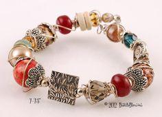 $30  Bohemian Bling Memory Wire Bangle/Cuff - Handmade lampwork art beads, jewelry & supplies by Bastille Bleu Lampwork. $30.00, via Etsy.