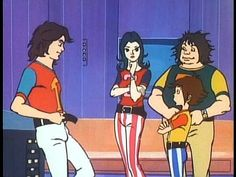 Ken (Mark), Jun (Princess), Ryu (Tiny) & Jinpei (Keyop) scene from Gatchaman/Battle of the Planets.