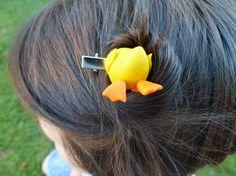 Ducks' bum hair clip (polymer clay) on Etsy, $15.00 AUD