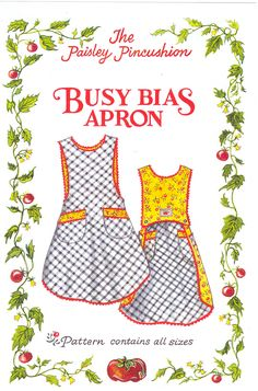 "Sewing pattern for sale: Reversible ""Busy Bias Apron"" pattern, by Paisley Pincushion; sizes: children's 4T to women's 20 (US)"