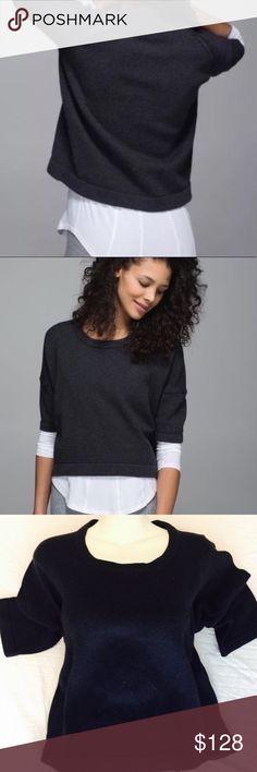 Lululemon Bataki navy sweater size 6 Lululemon bhatiki reality half sleeve sweater. 100% cotton short SZ 6 fits like a medium. Color navy blue. Crew neck. Half sleeve. Excellent used condition. lululemon athletica Tops Sweatshirts & Hoodies