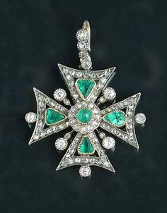 A 19th century emerald and diamond #maltese cross pendant,